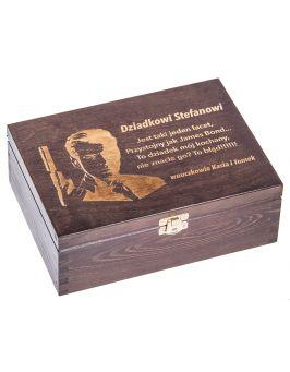 Drewnane pudełko na herbatę Nela 6z dla Dziadka