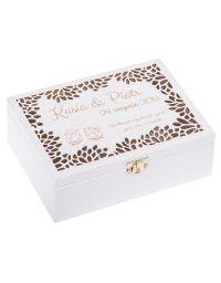 Ażurowe pudełko 22x16cm, kolor biały z grawerem