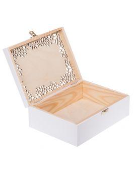 Białe, ażurowe pudełko 22x16cm z grawerem