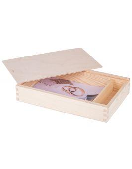 Pudełko na zdjęcia 18x13cm z przegródką na pendrive