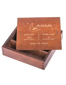 Pudełko na zdjęcia i pendrive z metryczką dziecka