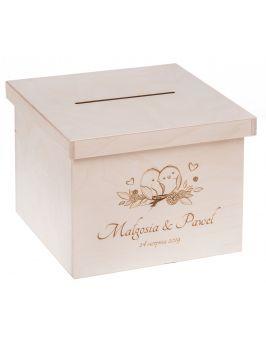 Pudełko z pokrywką na koperty ślubne + grawer