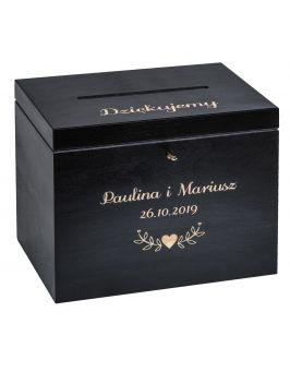 Czarne pudełko na koperty z grawerem