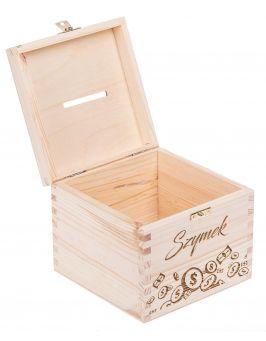 Drewniana skarbonka - Zbieram pierwszy milion + IMIĘ