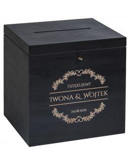 Czarne pudełko na koperty DUŻE z grawerem