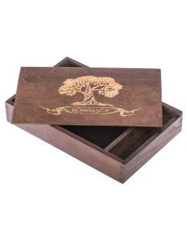 Pudełko na zdjęcia i pendrive z grawerem - ciemny brąz