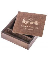 Pudełko drewniane na zdjęcia 10x15 i pendrive z grawerem