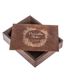 Pudełko na zdjęcia 15x23cm ciemny brąz z grawerem