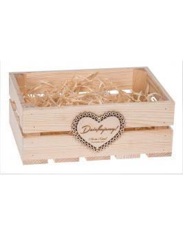 Skrzyneczka drewniana z sercem + GRAWER