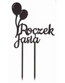 Topper na tort ROCZEK z balonami urodziny czarny