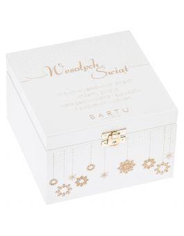 Pudełko drewniane prezenty świąteczne ŚWIĘTA