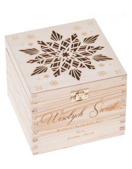 Pudełko ozdobne drewniane prezent na ŚWIĘTA