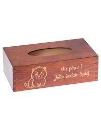 Drewniane pudełko na CHUSTECZKI pojemnik ozdoby, kolor orzech, grawer