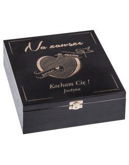 Pudełko drewniane - prezent na walentynki czarny