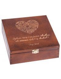 Pudełko drewniane - prezent na walentynki brąz