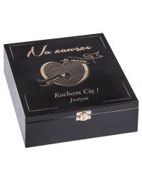 Pudełko drewniane - prezent na walentynki czarny 2
